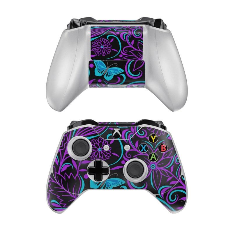 Xbox One Controller Skin design of Pattern, Purple, Violet, Turquoise, Teal, Design, Floral design, Visual arts, Magenta, Motif with black, purple, blue colors