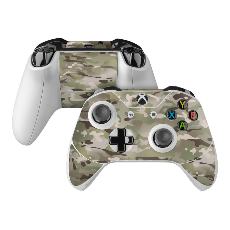 Xbox One Controller Skin design of Military camouflage, Camouflage, Pattern, Clothing, Uniform, Design, Military uniform, Bed sheet with gray, green, black, red colors