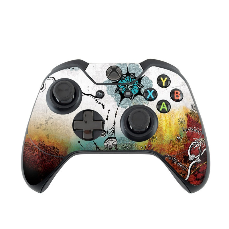 Xbox One Controller Skin design of Graphic design, Illustration, Art, Design, Visual arts, Floral design, Font, Graphics, Modern art, Painting with black, gray, red, green, blue colors