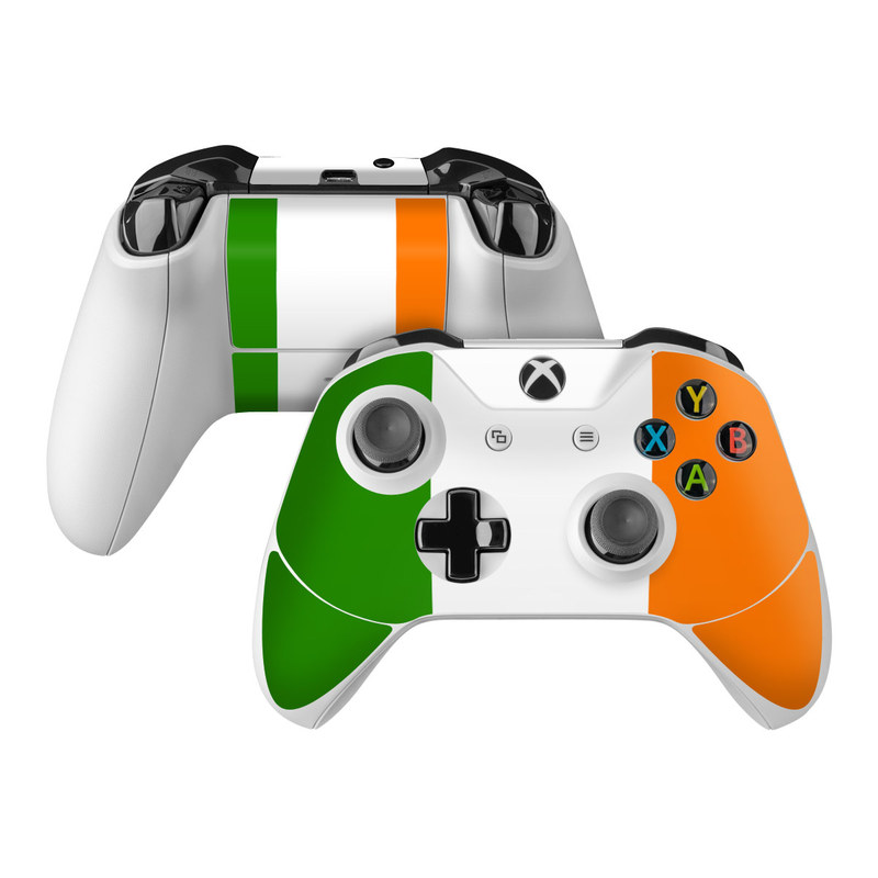 Xbox One Controller Skin design of Green, Yellow, Orange, Text, Font, Line, Rectangle, Pattern, Graphic design, Brand with green, white, orange colors