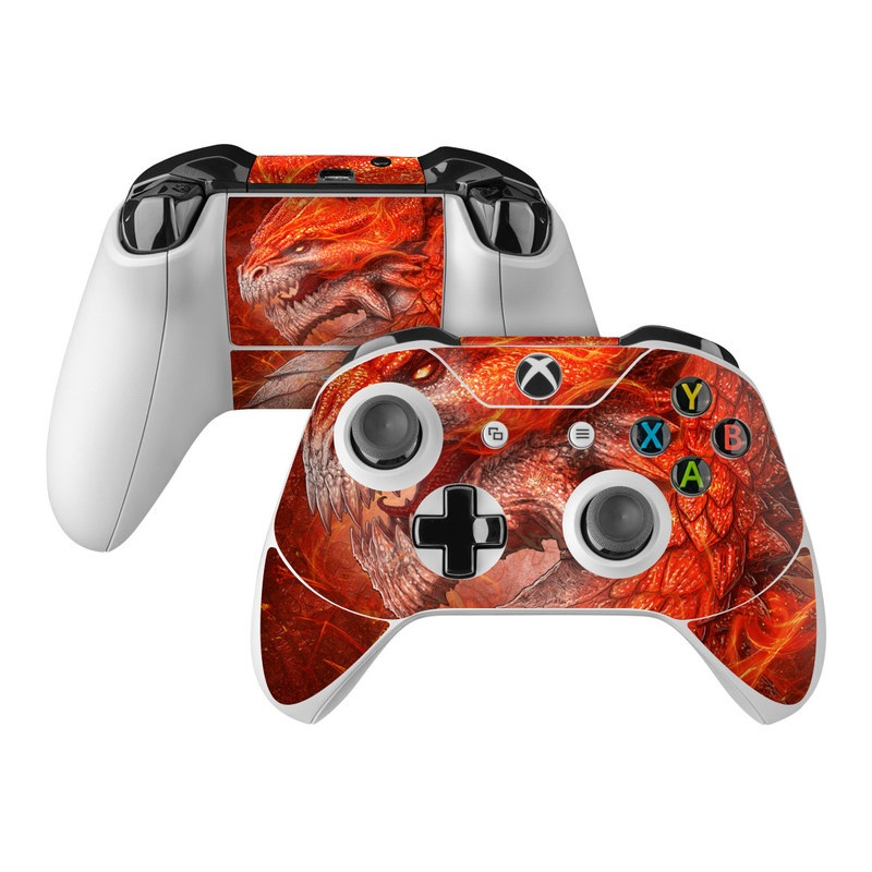 Xbox One Controller Skin design of Fictional character, Cg artwork, Illustration, Art, Demon, Geological phenomenon, Mythical creature, Dragon, Cryptid with red, orange, yellow colors
