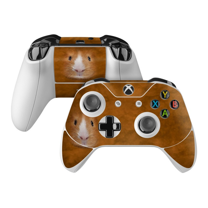 Xbox One Controller Skin design of Guinea pig, Whiskers, Nose, Rodent, Hamster, Skin, Snout, Gerbil, Mouse, Eye with red, green, gray, black colors