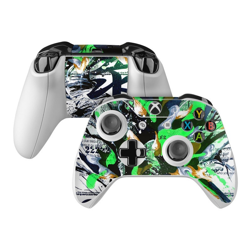 Xbox One Controller Skin design of Graphic design, Green, Illustration, Art, Tree, Modern art, Design, Graphics, Visual arts, Printmaking with black, gray, white, green, blue colors
