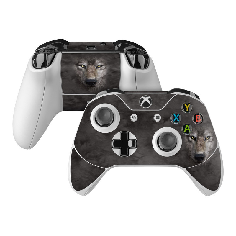 Xbox One Controller Skin design of Vertebrate, Mammal, Wolf, Canidae, Wildlife, Snout, Czechoslovakian wolfdog, Eye, Wolfdog, Canis with black, gray, red, green colors