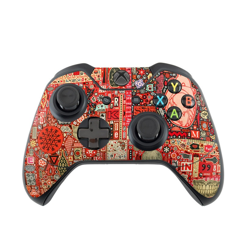 Xbox One Controller Skin design of Red, Electronics, Pattern, Design, Art with red, yellow, pink, black colors