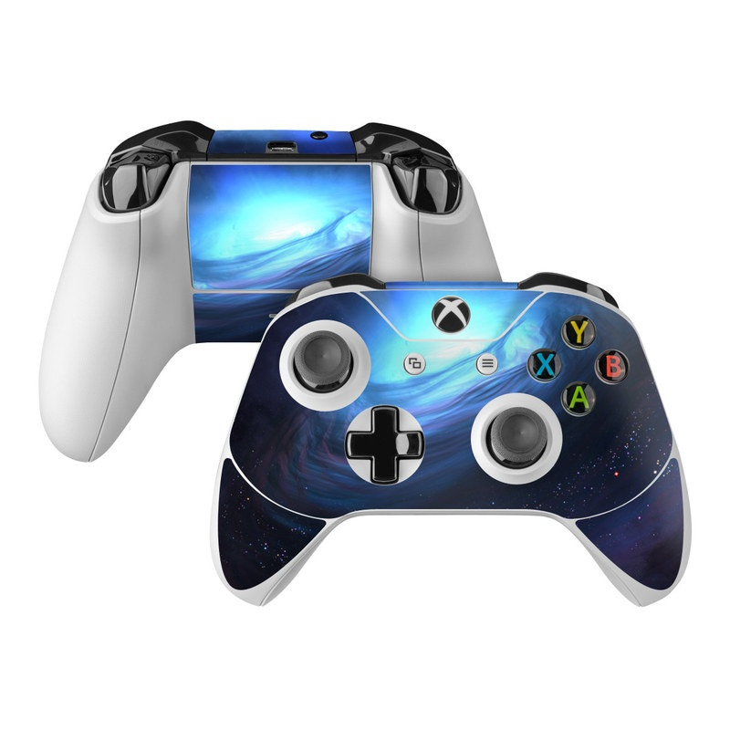 Xbox One Controller Skin design of Blue, Outer space, Light, Sky, Atmosphere, Space, Universe, Astronomical object, Darkness, Graphics with black, blue, purple colors
