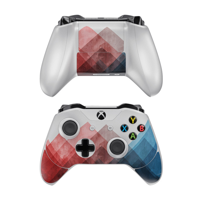 Xbox One Controller Skin design of Blue, Red, Sky, Pink, Line, Architecture, Font, Graphic design, Colorfulness, Illustration with red, pink, blue colors