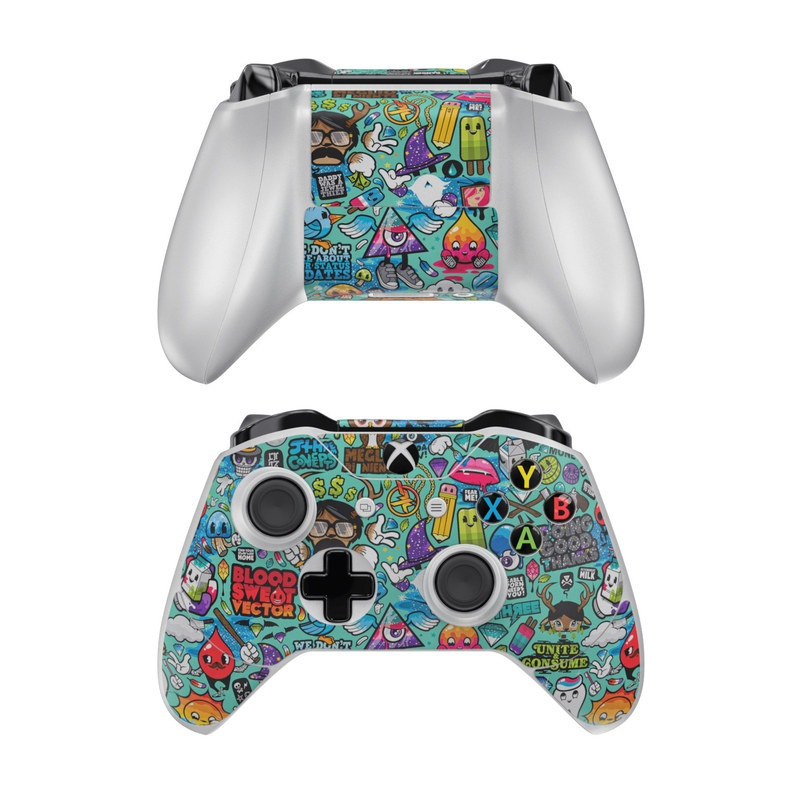 Xbox One Controller Skin design of Cartoon, Art, Pattern, Design, Illustration, Visual arts, Doodle, Psychedelic art with black, blue, gray, red, green colors