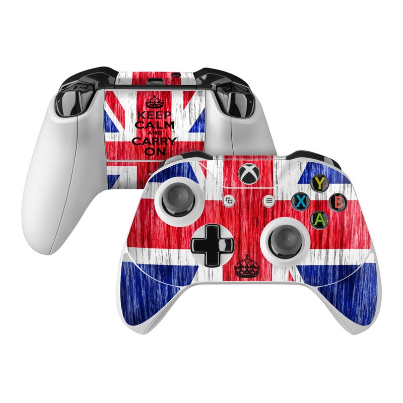 Xbox One Controller Skin design of Flag, Blue, Red, Font, Text, Line, Flag of the united states, Graphic design, Pattern, Electric blue with red, blue, gray, white, black colors