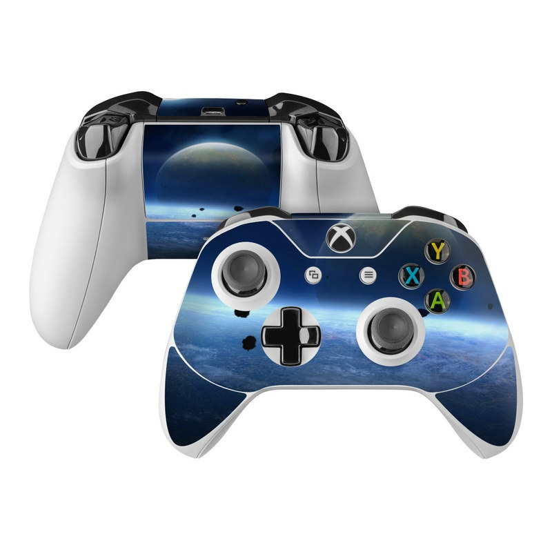 Xbox One Controller Skin design of Atmosphere, Sky, Astronomical object, Outer space, Space, Planet, Horizon, Universe, Earth, Screenshot with black, blue, purple, gray colors