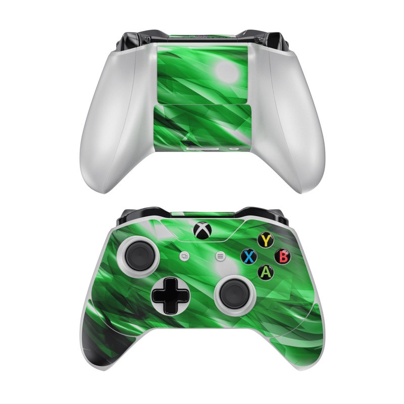 Xbox One Controller Skin design of Green, Light, Lighting, Leaf, Design, Technology, Space, Graphics, Graphic design, Illustration with black, green, white colors