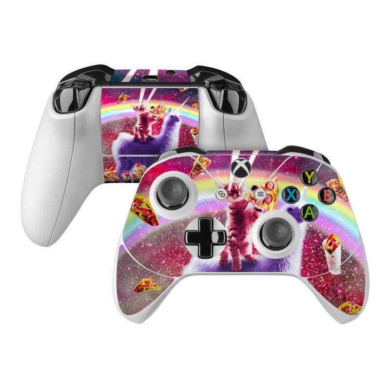 Xbox One Controller Skin design of Llama, Unicorn, Fictional character, Illustration, Graphic design, Livestock, Camelid, Mythical creature, Graphics, Art with red, white, yellow, gray, purple, blue, green colors