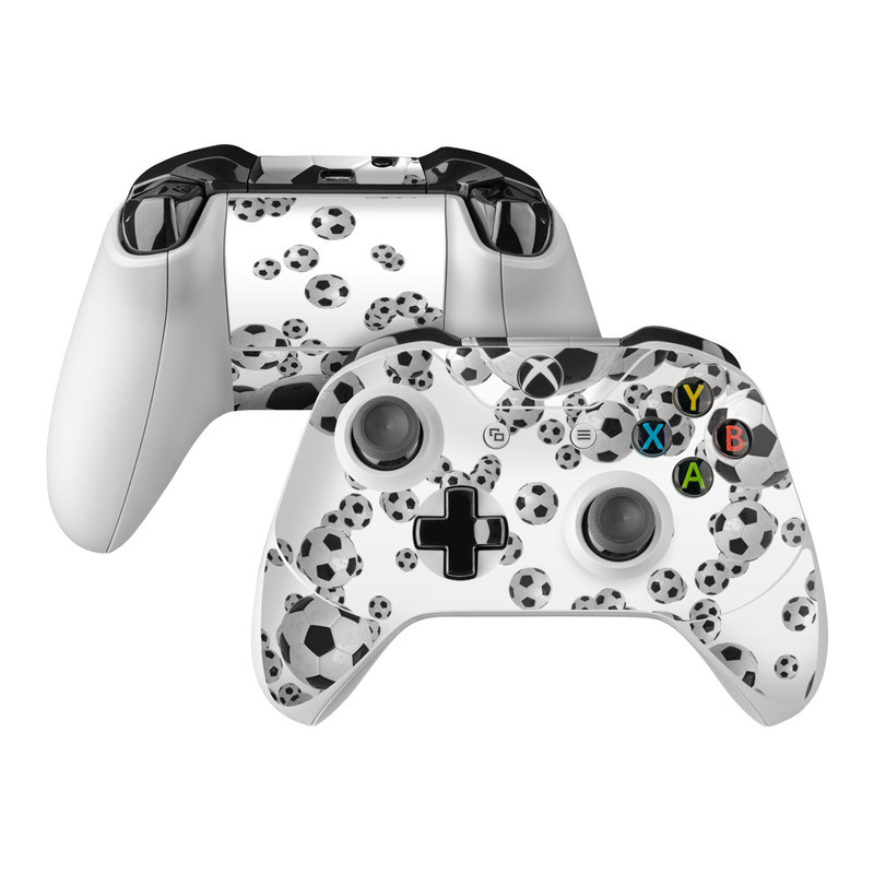 Xbox One Controller Skin design of White, Pattern, Football, Ball, Design, Black-and-white, Soccer ball, Monochrome, Paw, Games with gray, white, black colors