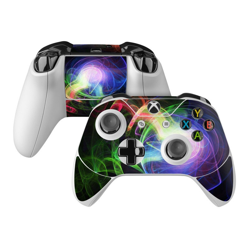 Xbox One Controller Skin design of Light, Blue, Graphic design, Fractal art, Colorfulness, Electric blue, Neon, Circle, Design, Technology with black, blue, green, red, purple colors
