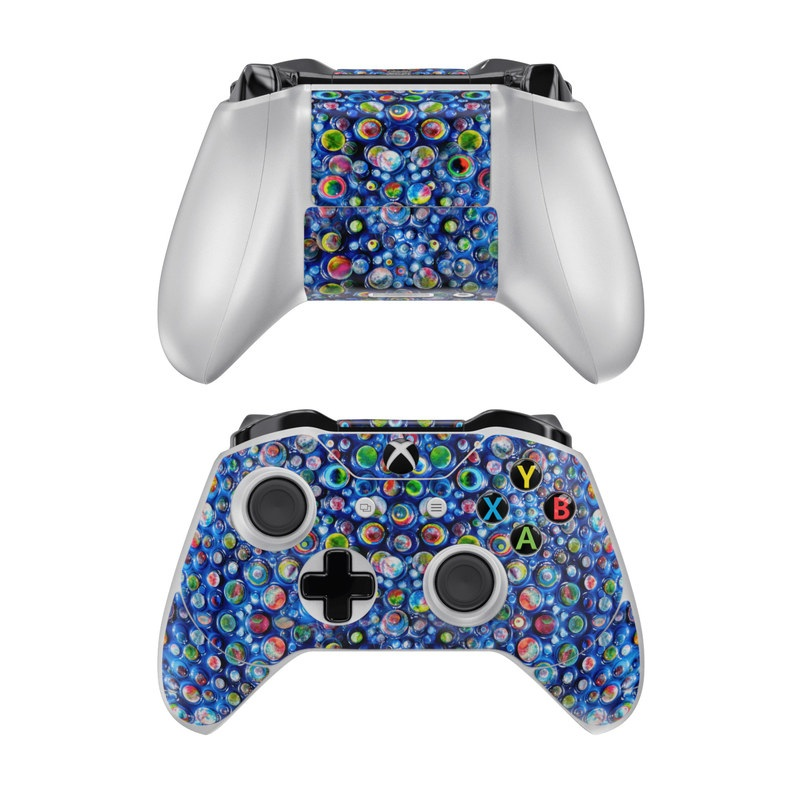 Xbox One Controller Skin design of Blue, Pattern, Glass, Colorfulness with blue, green, red, green, orange colors