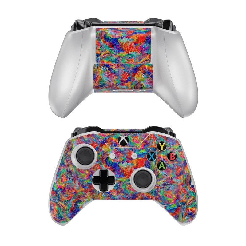 Xbox One Controller Skin design of Pattern, Textile, Wool, Woolen, Colorfulness, Visual arts, Woven fabric, Art with red, green, blue, orange, yellow colors