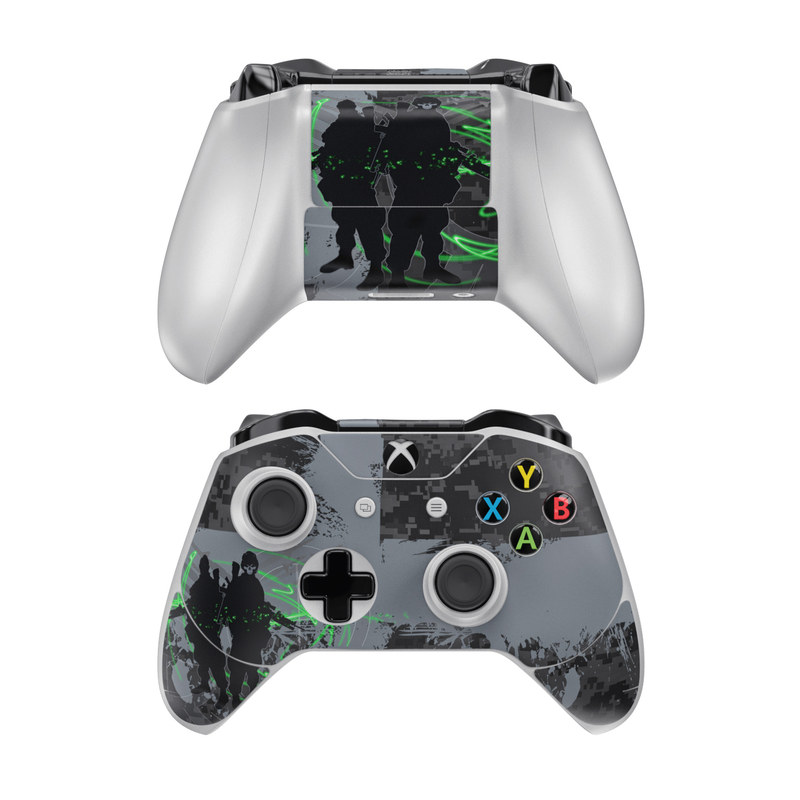 Xbox One Controller Skin design of Green, Black, Graphic design, Font, Illustration, Design, Organism, Digital compositing, Darkness, Graphics with black, gray, green, blue colors