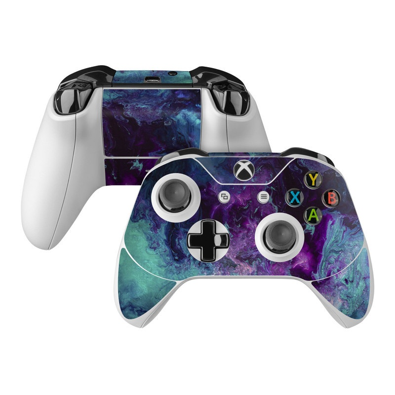 Xbox One Controller Skin design of Blue, Purple, Violet, Water, Turquoise, Aqua, Pink, Magenta, Teal, Electric blue with blue, purple, black colors
