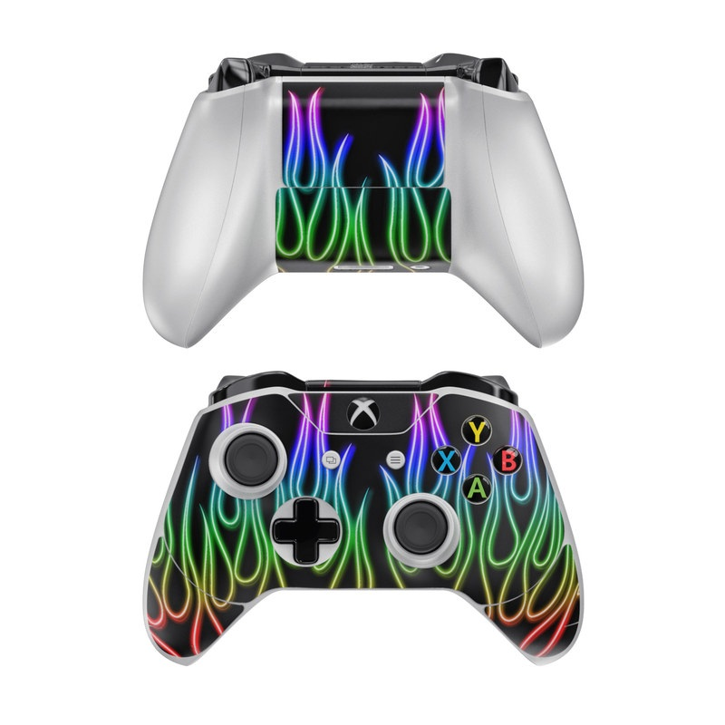 Xbox One Controller Skin design of Text, Light, Neon, Font, Neon sign, Graphics, Graphic design, Visual effect lighting with black, red, yellow, green, purple, pink colors