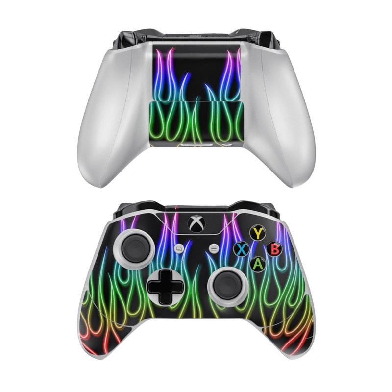 Rainbow Neon Flames Xbox One Controller Skin