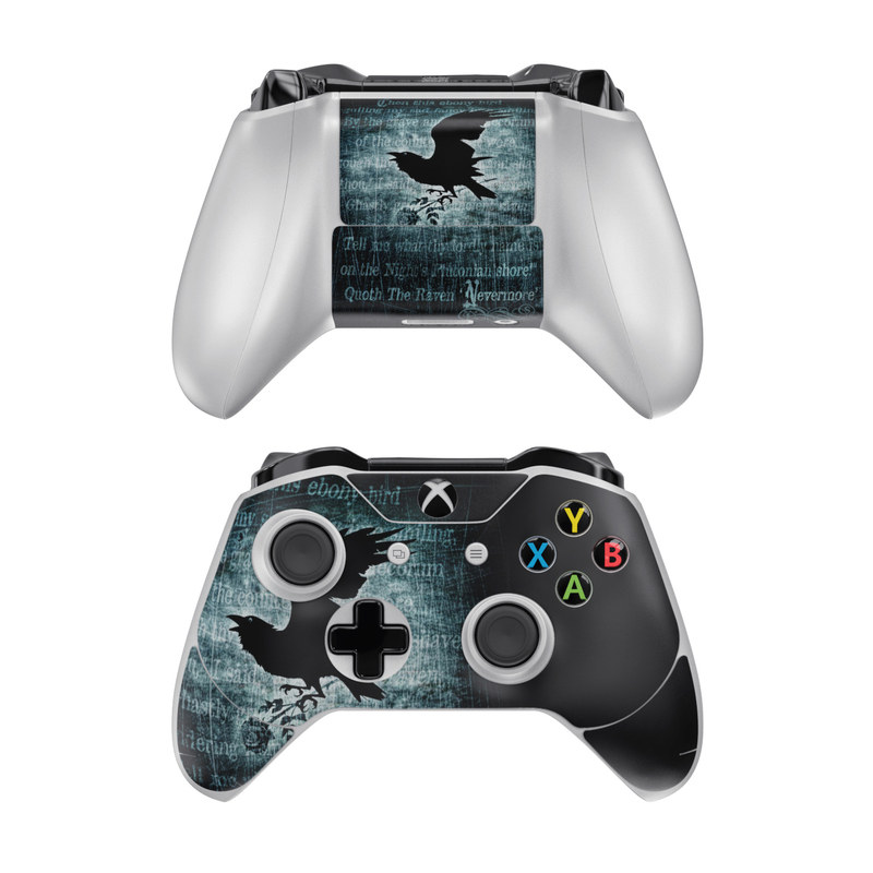Xbox One Controller Skin design of Bird, Text, Wing, Graphic design, Darkness, Font, Illustration, Graphics with black, white, blue colors