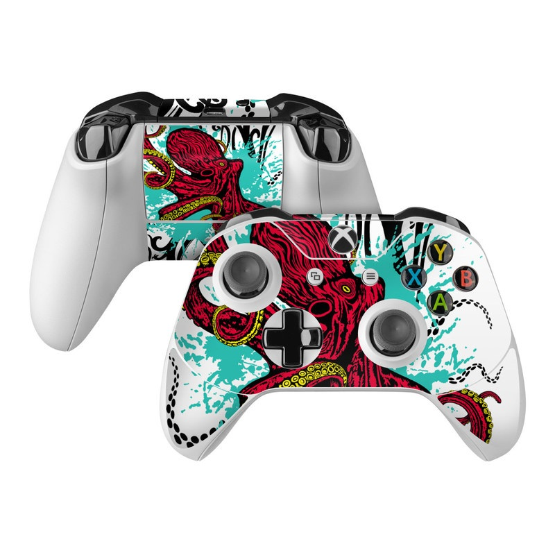 Xbox One Controller Skin design of Graphic design, Illustration, Visual arts, Octopus, Design, Art, Fictional character, Pattern, Clip art, Line art with black, white, gray, red, blue, green colors