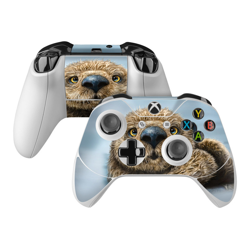Xbox One Controller Skin design of Mammal, Vertebrate, Otter, Sea otter, North american river otter, Marine mammal, Terrestrial animal, Mustelidae, Snout, Organism with gray, black, blue, green, red colors