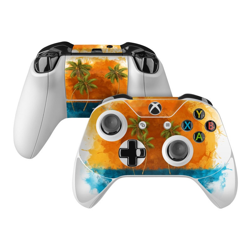 Xbox One Controller Skin design of Palm tree, Watercolor paint, Arecales, Leaf, Tree, Tropics, Plant, Illustration, Art, Paint with red, blue, green, orange, black, pink colors