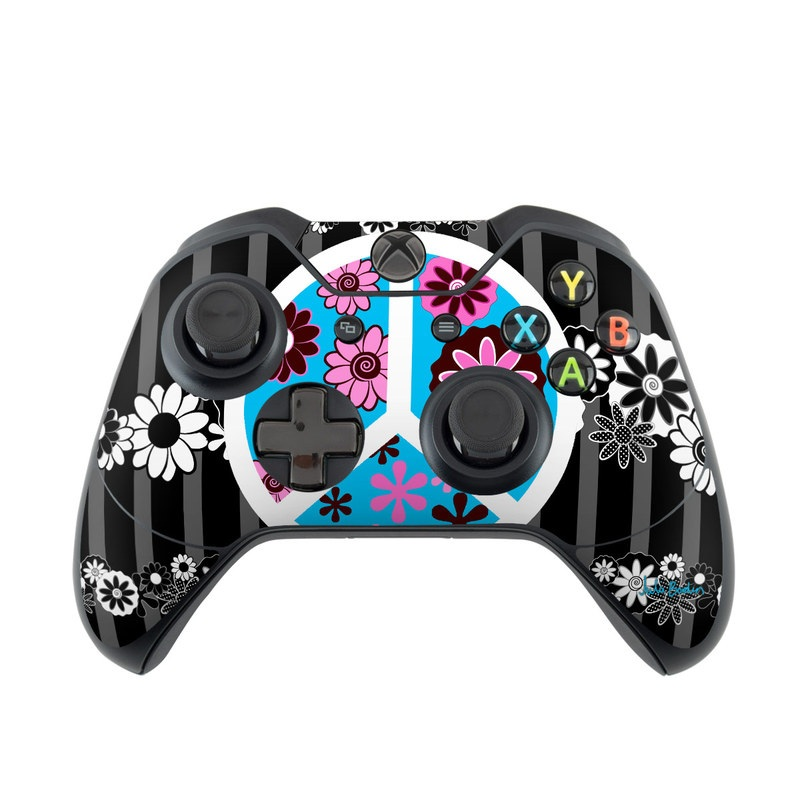 Peace Flowers Black Xbox One Controller Skin