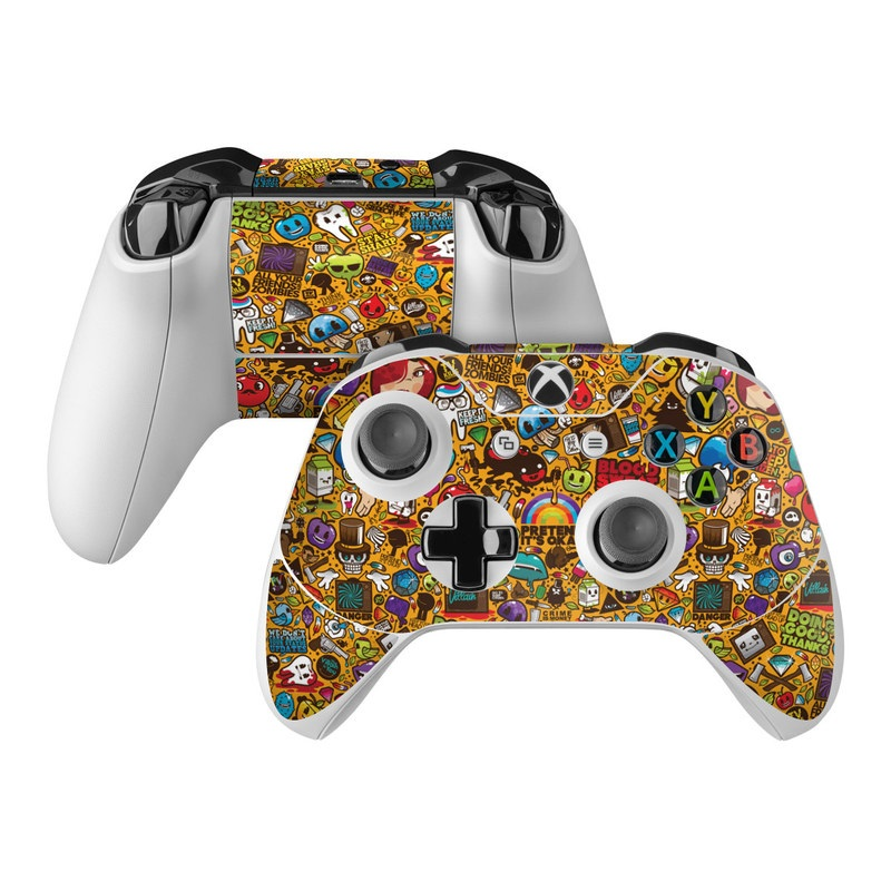 Xbox One Controller Skin design of Pattern, Psychedelic art, Visual arts, Art, Design, Illustration, Graphic design, Doodle with black, green, red, gray, orange, blue colors