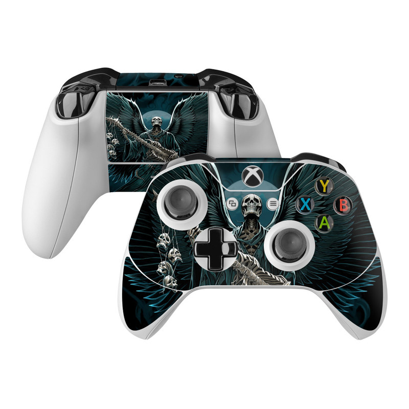 Xbox One Controller Skin design of Angel, Wing, Supernatural creature, Fictional character, Illustration, Mythology, Darkness, Graphic design, Art with black, blue, white colors