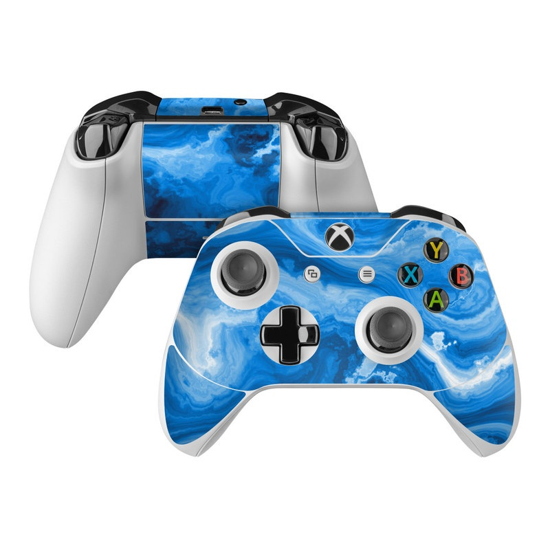 Xbox One Controller Skin design of Blue, Water, Aqua, Azure, Turquoise, Pattern, Liquid, Wave, Electric blue, Design with blue, white, black colors