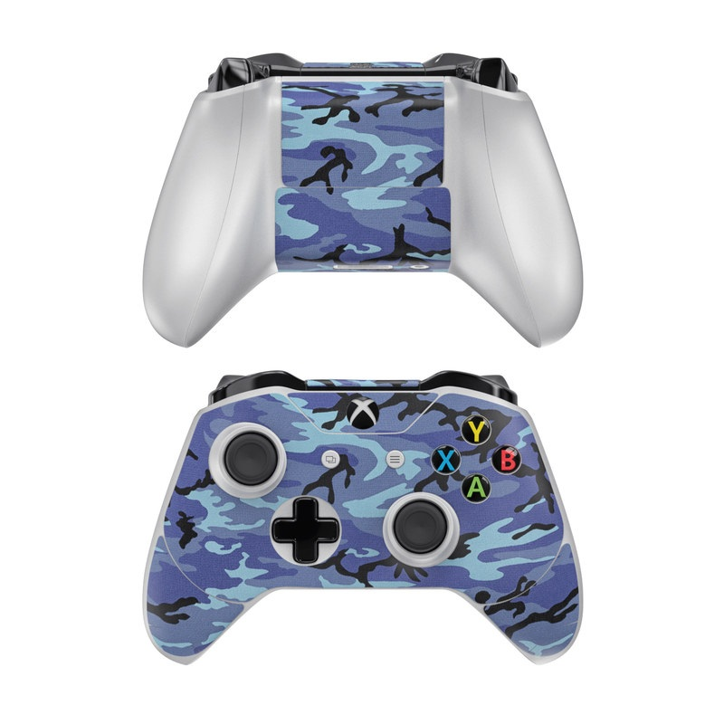 Xbox One Controller Skin design of Military camouflage, Pattern, Blue, Aqua, Teal, Design, Camouflage, Textile, Uniform with blue, black, gray, purple colors