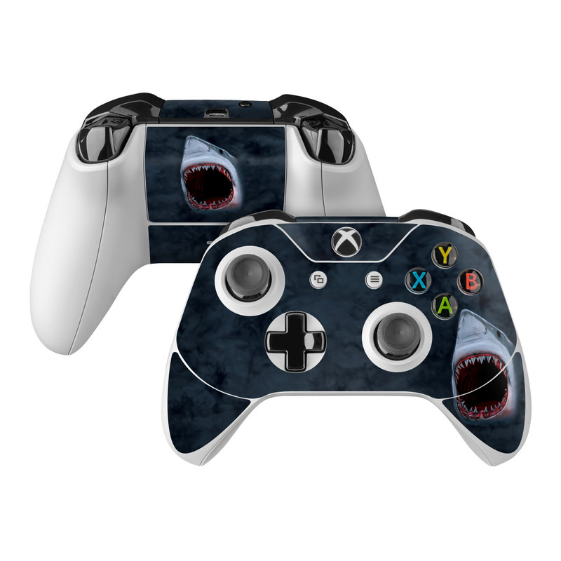 Xbox One Controller Skin design of Great white shark, Shark, Lamnidae, Fish, Lamniformes, Cartilaginous fish, Sand tiger shark, Tiger shark, Mouth, Jaw with black, gray, blue, red colors