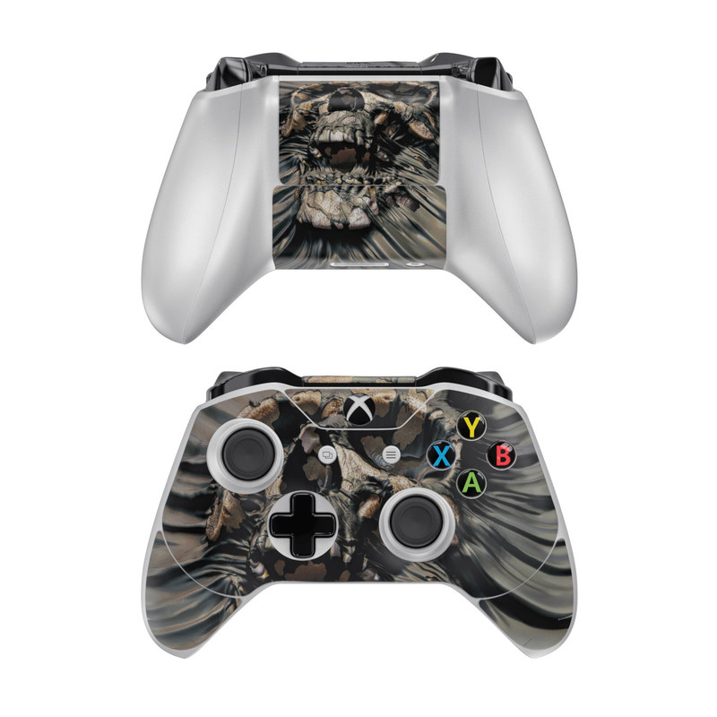 Xbox One Controller Skin design of Cg artwork, Fictional character, Illustration, Demon, Fiction, Supervillain, Mythology, Art with black, green, gray, red colors