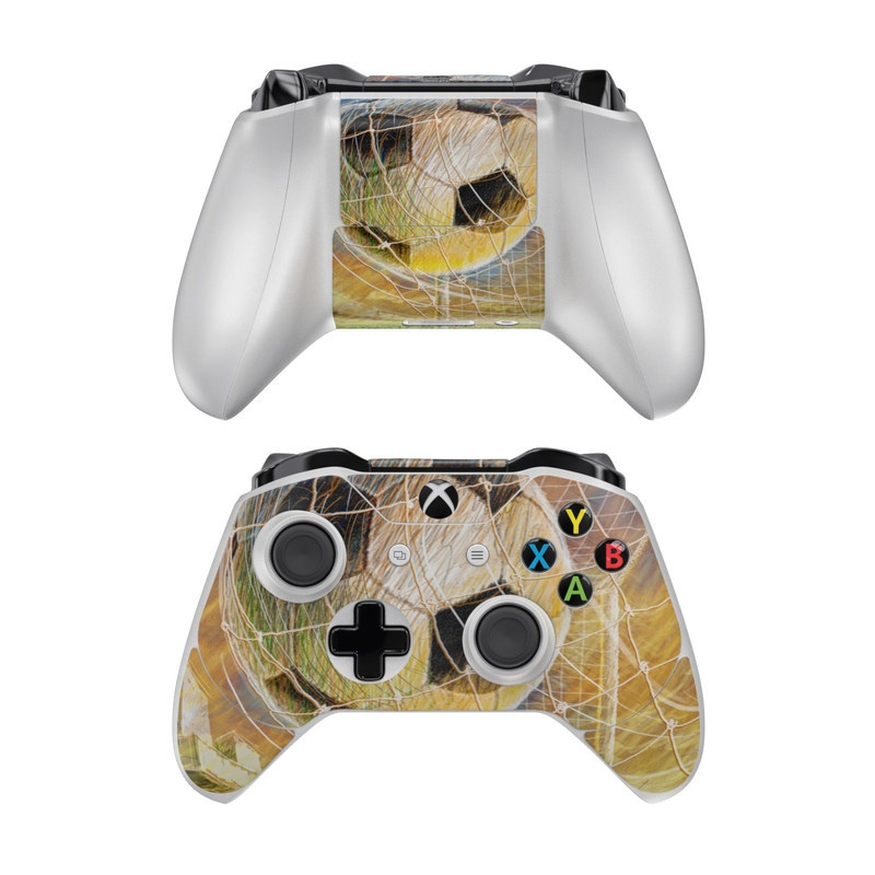 Xbox One Controller Skin design of Ball, Soccer ball, Football, Goal, Eye, Net, Space, World with gray, green, black, red, pink, blue colors