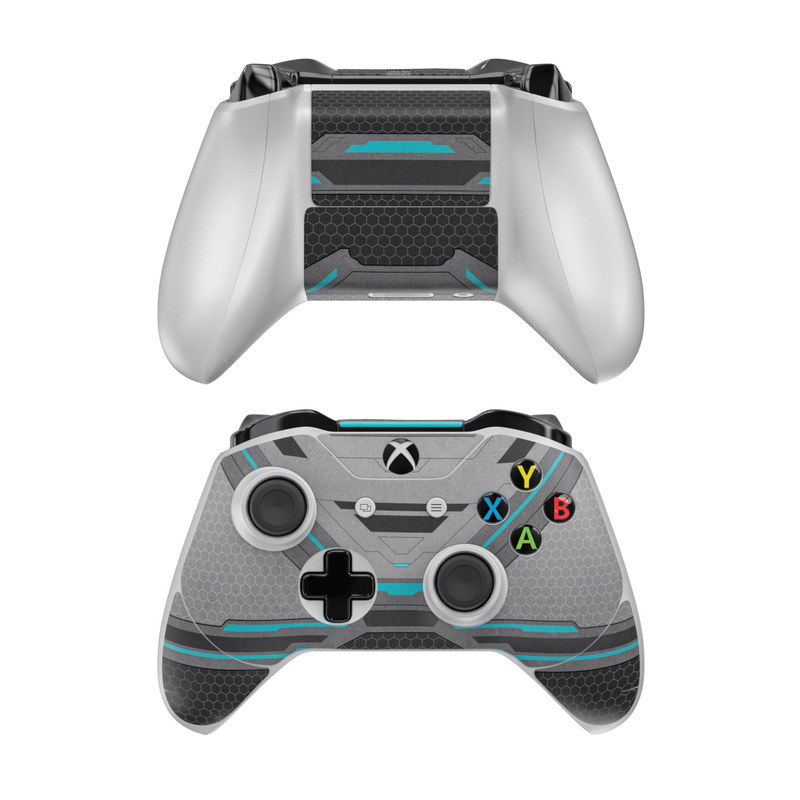 Xbox One Controller Skin design of Blue, Turquoise, Pattern, Teal, Symmetry, Design, Line, Automotive design, Font with black, gray, blue colors