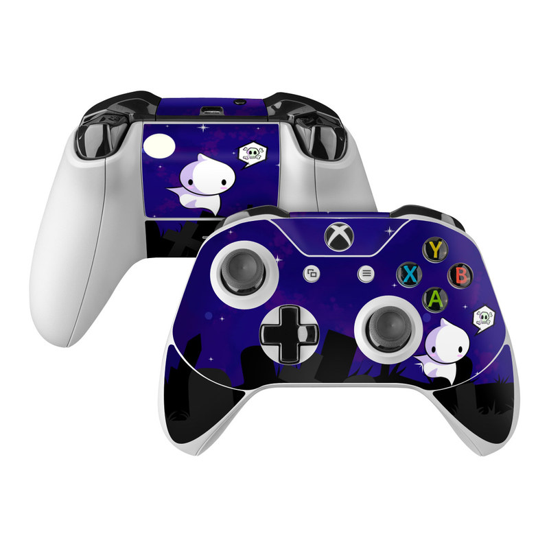 Xbox One Controller Skin design of Cartoon, Violet, Blue, Purple, Illustration, Animated cartoon, Sky, Graphic design, Space, Clip art with black, blue, white, gray, purple colors