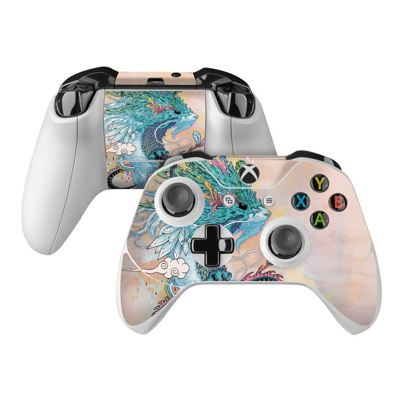 Xbox One Controller Skin design of Illustration, Water, Watercolor paint, Art, Fictional character, Graphic design, Mythology, Visual arts, Painting, Drawing with yellow, pink, blue, green colors