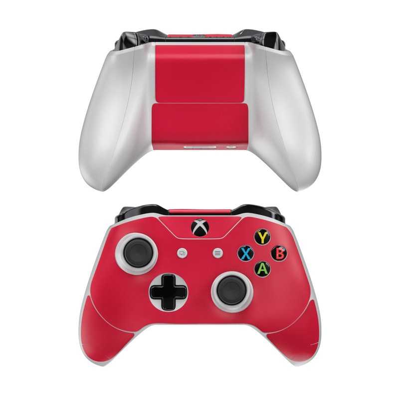 Xbox One Controller Skin design of Red, Pink, Maroon, Purple, Orange, Violet, Magenta, Material property, Font, Peach with red colors