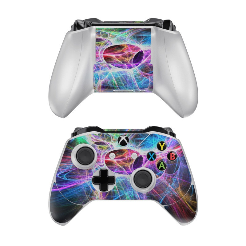 Xbox One Controller Skin design of Fractal art, Light, Pattern, Purple, Graphic design, Design, Colorfulness, Electric blue, Art, Neon with black, gray, blue, purple colors