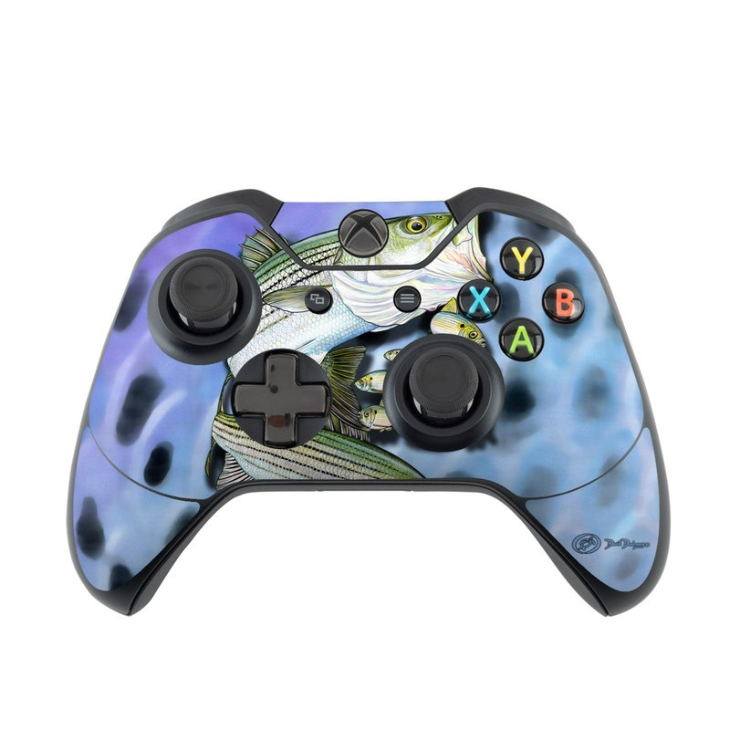 Xbox One Controller Skin design of Fish, Bass, Bony-fish, Ray-finned fish, Northern largemouth bass, Trout with gray, black, blue, purple, green colors