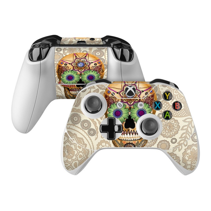 Xbox One Controller Skin design of Skull, Bone, Pattern, Design, Illustration, Visual arts, Fashion accessory, Art with gray, yellow, green, black, red, pink colors