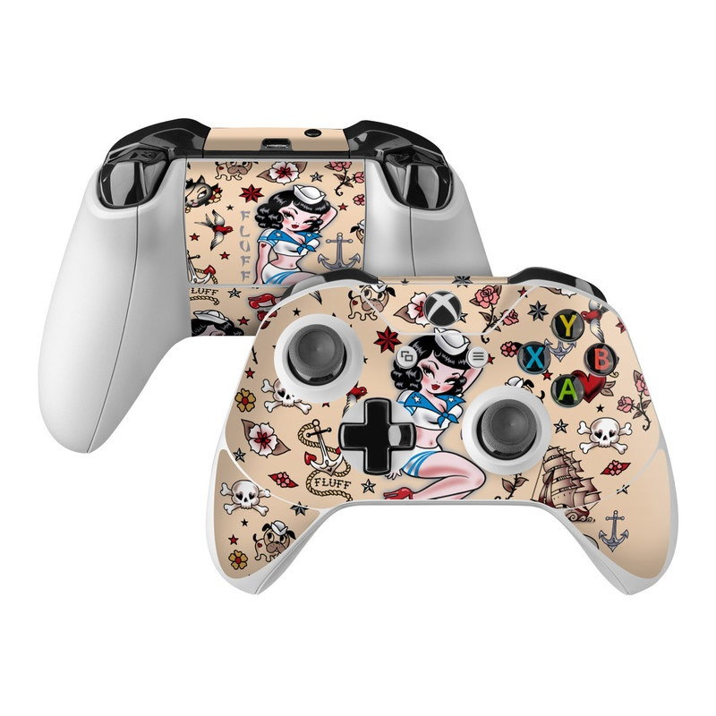 Xbox One Controller Skin design of Cartoon, Illustration, Fictional character, Art, Clip art with gray, black, pink, red, white, blue colors