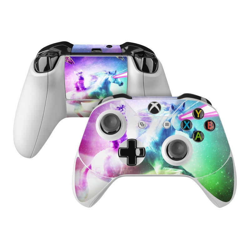 Xbox One Controller Skin design of Fictional character, Illustration, Unicorn, Graphic design, Sky, Space, Mythical creature, Cg artwork, Art, Mythology with black, white, blue, green, purple, pink, red colors