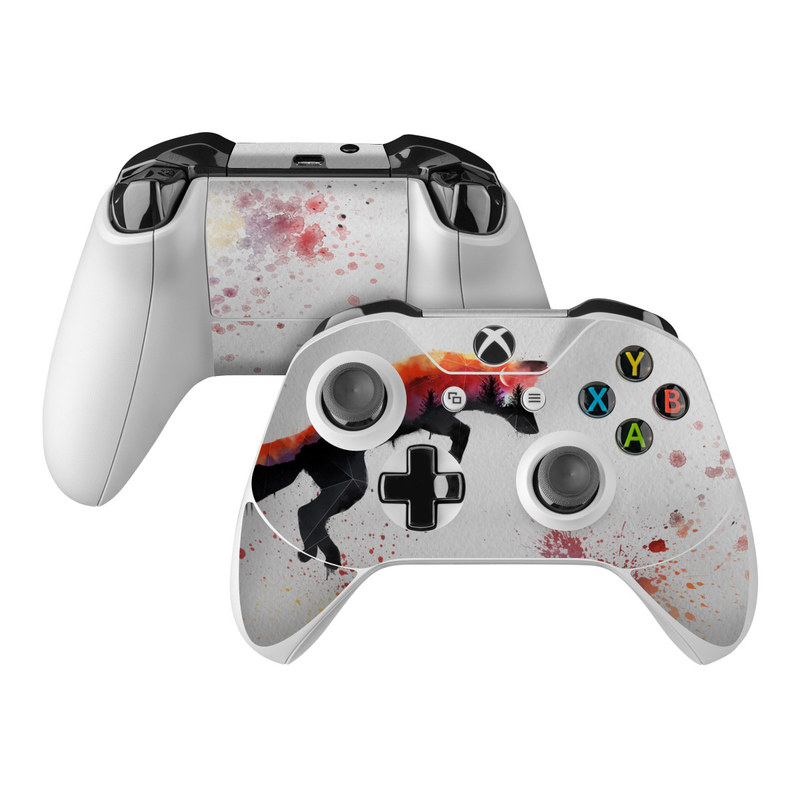Xbox One Controller Skin design of Illustration, Watercolor paint, Art, Graphic design, Painting, Red fox, Visual arts, Paint, Drawing, Tail with gray, black, red, yellow, orange, white colors
