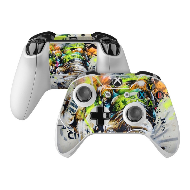 Xbox One Controller Skin design of Watercolor paint, Graphic design, Illustration, Acrylic paint, Art, Modern art, Painting, Visual arts, Paint, Graphics with gray, black, green, red, blue colors
