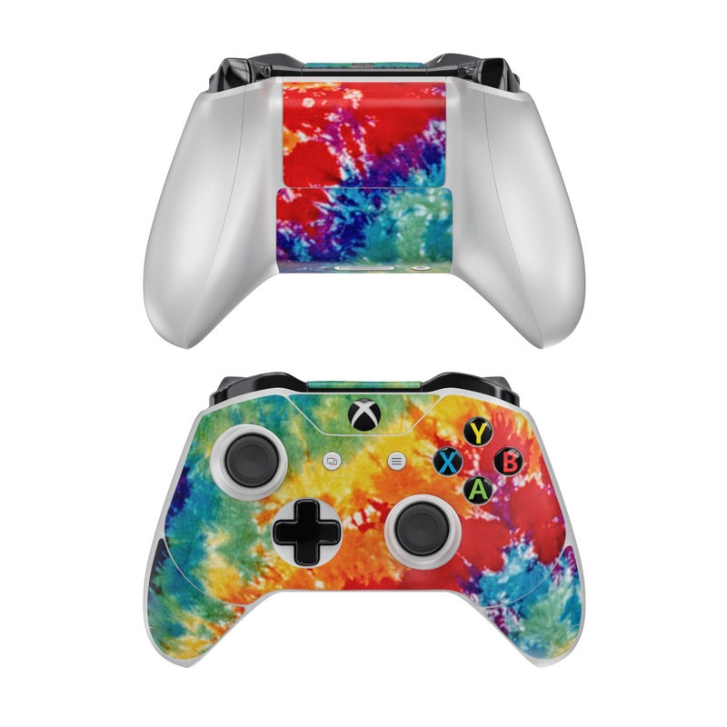 Xbox One Controller Skin design of Orange, Watercolor paint, Sky, Dye, Acrylic paint, Colorfulness, Geological phenomenon, Art, Painting, Organism with red, orange, blue, green, yellow, purple colors