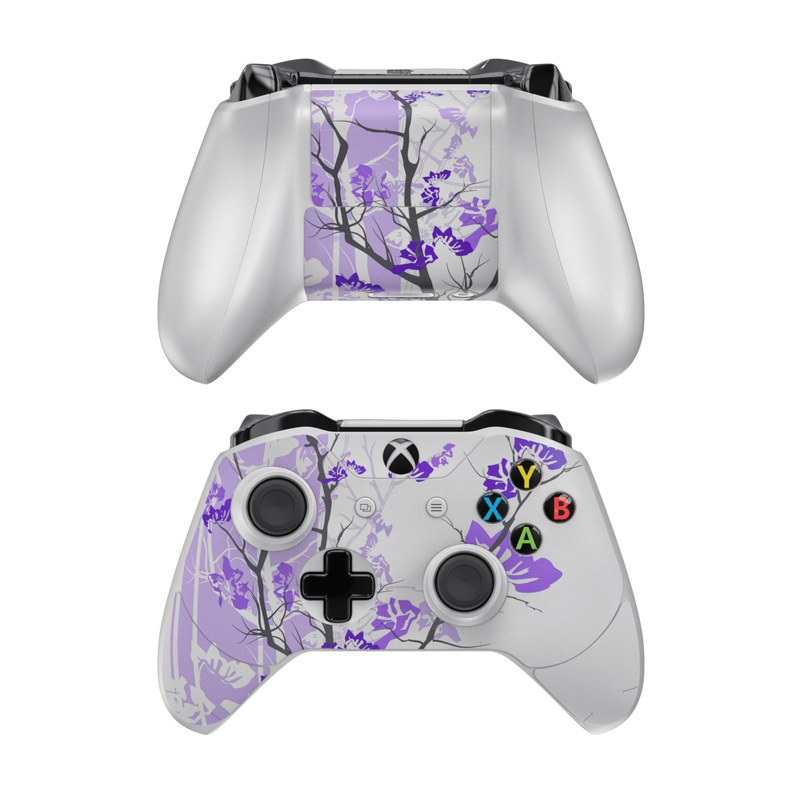Xbox One Controller Skin design of Branch, Purple, Violet, Lilac, Lavender, Plant, Twig, Flower, Tree, Wildflower with white, purple, gray, pink, black colors