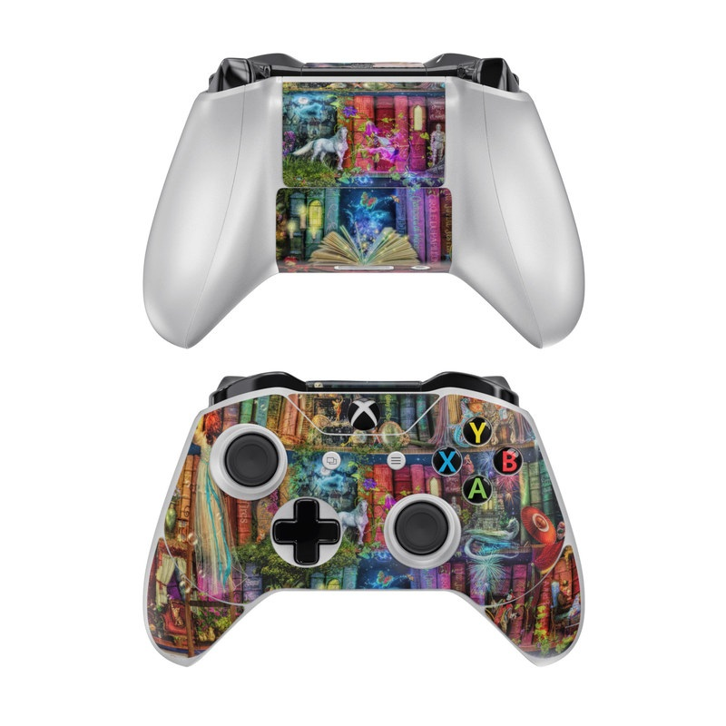 Xbox One Controller Skin design of Painting, Art, Theatrical scenery with black, red, gray, green, blue colors